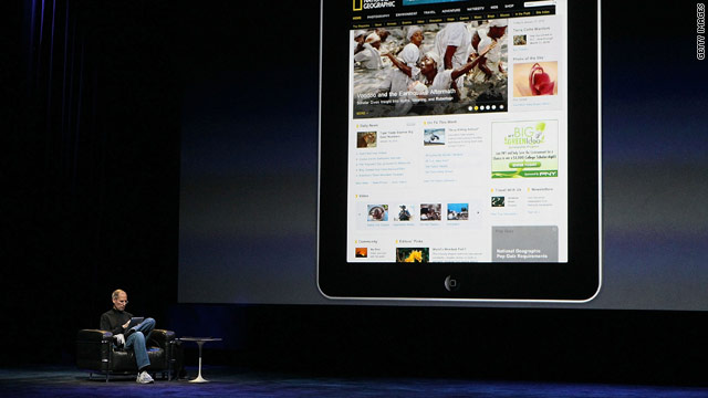 Apple CEO Steve Jobs shows how National Geographic might look on the iPad. Publishers hope the device will give them a boost.