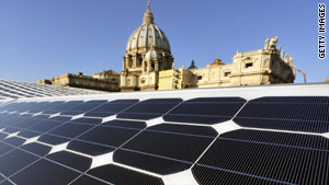 Roofs in the Vatican City covered with solar panels point the way to off-grid power.