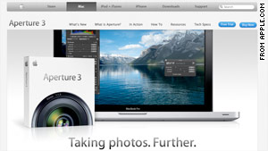 Apple announced the release of Aperture 3 photo editing software on Tuesday.