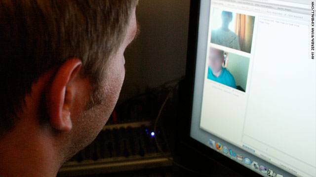 "Chatroulette pairs random strangers for video talks, as shown in this photo illustration. Users click ""next"" to go on to a new chat."