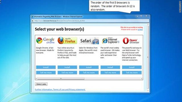 As of Monday Microsoft users will be able to select an alternative browser from a pop-up menu.
