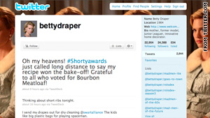 "The fictional Betty Draper account inspired by the AMC show ""Mad Men"" won a Shorty for innovation."