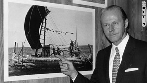Thor Heyerdahl seen in 1970: Did ancient peoples cross oceans on wood rafts?
