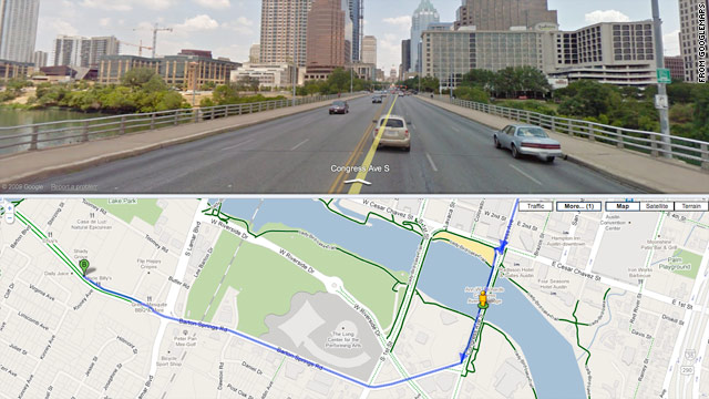 Google added bike routes to its online maps on Wednesday; this split-screen shows a bike route in Austin, Texas.