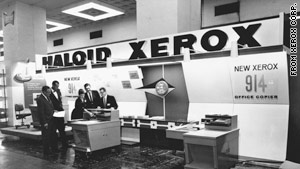 Haloid Xerox's booth at a 1960 trade show in Washington, D.C., where one of its three copiers caught on fire.