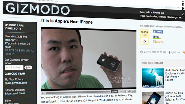 Tech blog Gizmodo posted a video of a phone saying it's the prototype of the latest iPhone.