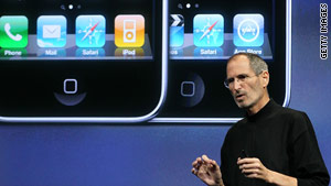 Apple CEO Steve Jobs announcing the iPhone's new operating system earlier this month.