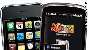 Android software is available on several different models of phones, like the Nexus One, right, unlike Apple's OS.