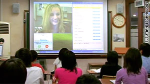 Students in classrooms across Asia can take real-time English lessons from American teachers.