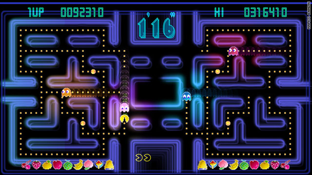 Pac-Man, shown here in its championship version, was the biggest arcade-game craze of the early 1980s.