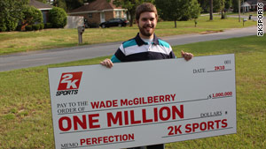 "Wade McGilberry received a huge check for pitching a virtual perfect game in ""MLB 2K10."""
