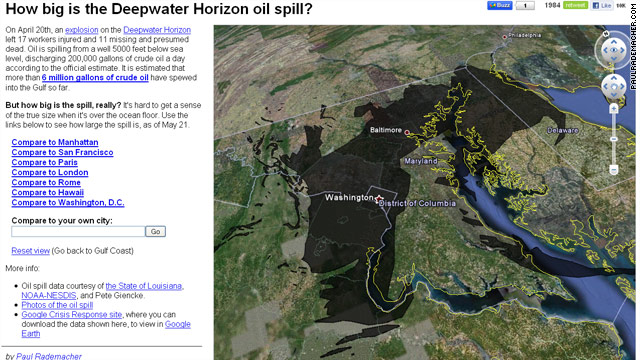 A program by a Google Maps engineer lets users compare the size of the Gulf oil spill to well-known places like Washington.