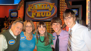 "The Crowley family won $20,000 on the game show ""Family Feud."" Dennis Crowley of Foursquare is second from right."