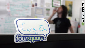 Foursquare shares office space with two other tech start-ups. Crowley says it feels like a &quot;sweatshop.&quot;