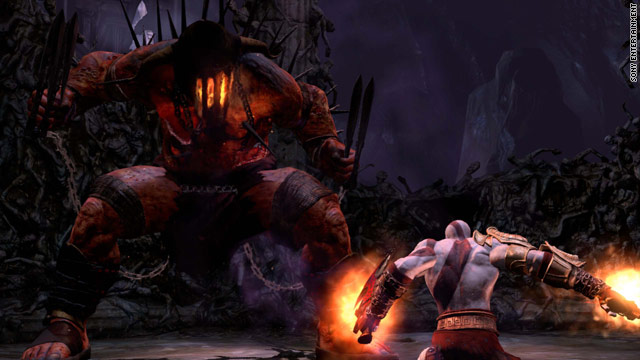 "Kratos, right, battles a mythical monster in the hotly anticipated video game ""God of War III,"" to be released March 16."
