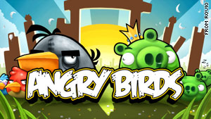 "In ""Angry Birds,"" a game for the iPhone, players take part in a bizarre battle between birds and pigs."