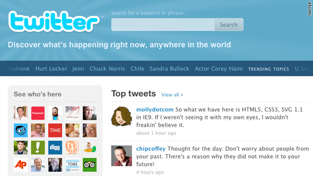 Twitter's new main page aims to give users and potential users a real-time look at what's happening on the site.