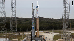 NASA's Solar Dynamics Observatory and its rocket sit on the launch pad Tuesday at Cape Canaveral, Florida.