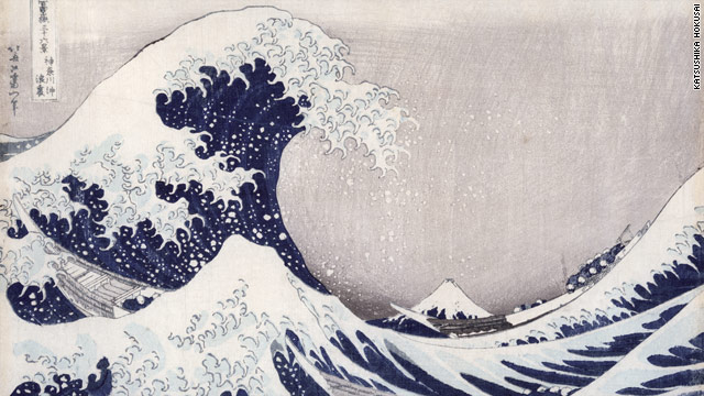 "The 19th century print ""In the Hollow of a Wave off the Coast at Kanagawa"" by the Japanese artist Hokusai."