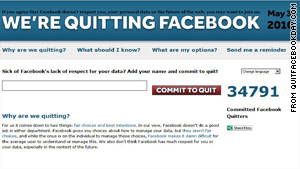 Quitfacebookday.com asked Facebook users to quit the site on May 31.