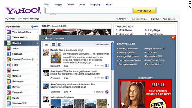 """Yahoo says the revamp lets users connect with Facebook """"in a big way."""""""