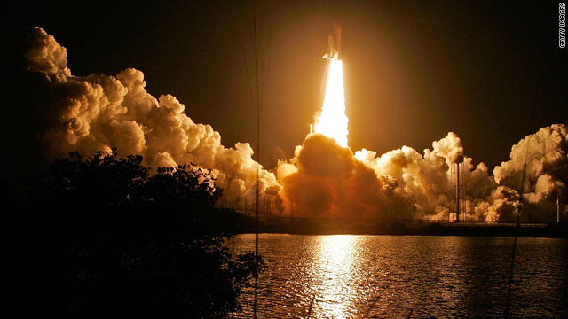 Endeavor lights up the early morning sky at Kennedy Space Center on Monday just after liftoff.