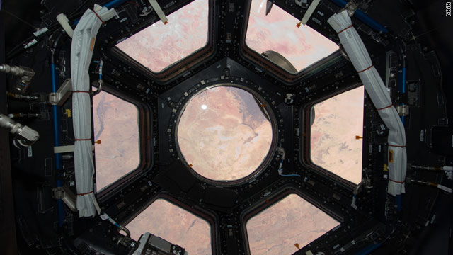 The Sahara Desert is visible through the seven new windows on the international space station.