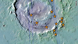 Lyot crater is 210km in diameter  - the asterisks show the locations where hydrated minerals were detected.