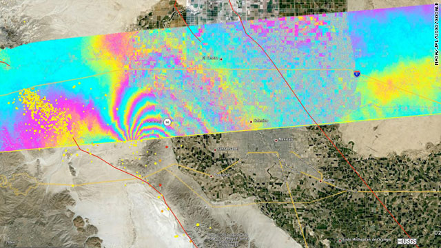 An interferogram of the April quake in Baja California is overlaid atop a Google Earth image of the region.