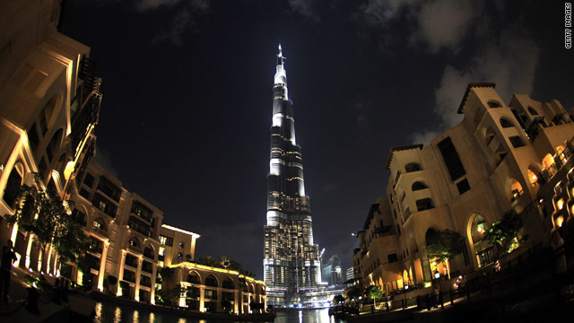 Burj Dubai is the extremely tall centerpiece of an ambitious development in Dubai, United Arab Emirates.