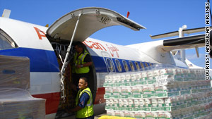 Three American Eagle aircraft flew supplies to Haiti on Wednesday after the devastating earthquake.
