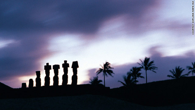 Massive long-faced statues, called moais, are Easter Island's signature attraction.