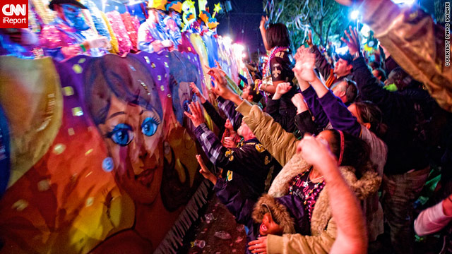 iReporter Marc Pagani took this photo at the Krewe of Bacchus parade on Sunday in New Orleans, Louisiana.