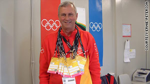 Ernie Peterson is volunteering for his third Olympics. This photo shows him during the 2006 games in Torino, Italy.