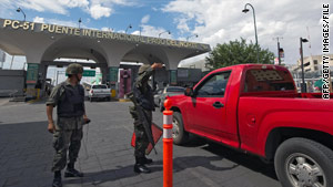 Mexican soldiers check vehicles on the bridge between Ciudad Juarez, Mexico, and El Paso, Texas. Ciudad Juarez is Mexico's most violent city.
