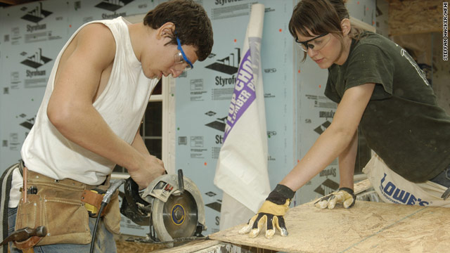 College students work on a project as part of Habitat for Humanity's Collegiate Challenge program.