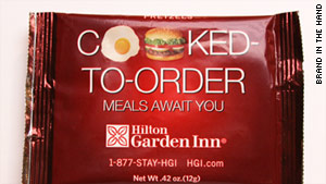 Hilton Garden Inn uses ad space on airline snack bags.