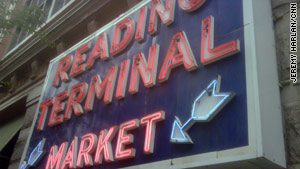 "The Reading Terminal Market is a ""food sensory overload,"" Harlan says."