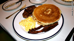 The Pacific Dining Car's banana-pecan pancakes are popular with customers.