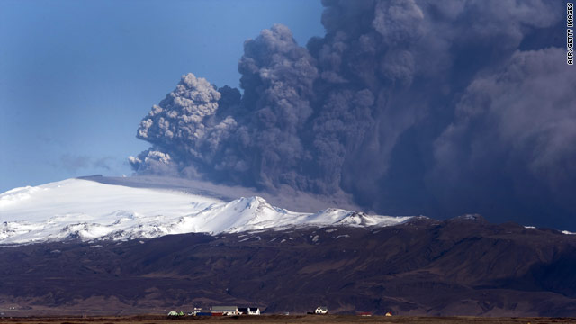 Volcanic ash spewing from underneath southern Iceland's Eyjafjallajokull glacier has shut down air travel across Europe.