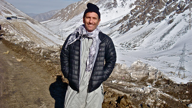 Carl Hoffman dressed in local garb for his bus trip across the Salang Pass in northern Afghanistan.