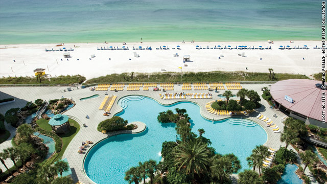 This file photo shows the view from the Edgewater Resort in Panama City Beach, Florida. The state's beaches are oil-free.