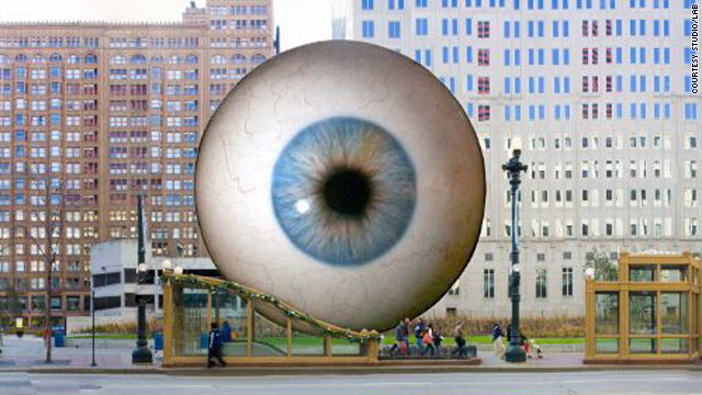 This artist's rendering shows how the sculpture EYE will look when it goes on display in Chicago, Illinois, next month.