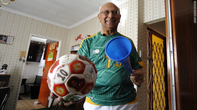 World Cup volunteer, 79-year-old Daya Amrit, wearing a custom made South African football jersey.