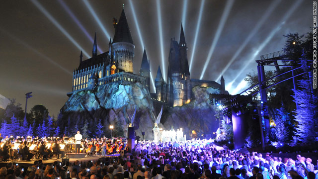 "Universal Studios celebrates the opening of the ""Wizarding World of Harry Potter"" in Orlando, Florida, on Thursday. The attraction officially opens to the public Friday."