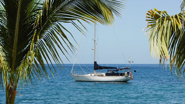The couple's 42-foot sailboat Receta is seen anchored off St. Pierre, Martinique.