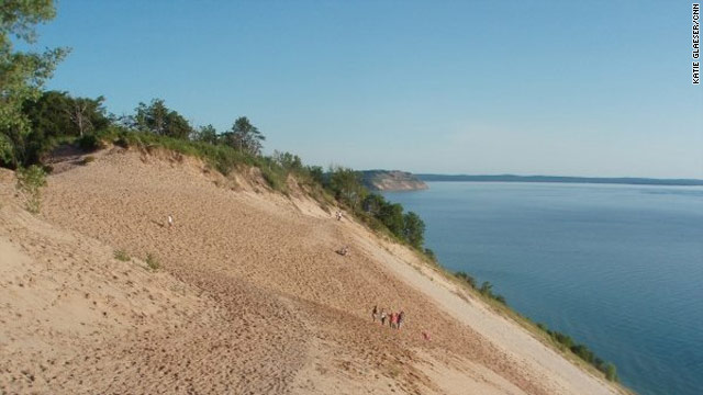 Children and adventurers may spend the afternoon climbing up and tumbling down Sleeping Bear Dunes in western Michigan.