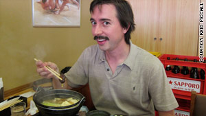 "The author eats chanko, a ""sumo wrestler's meal,"" at the restaurant at the Ryogoku Kokugikan in Tokyo."