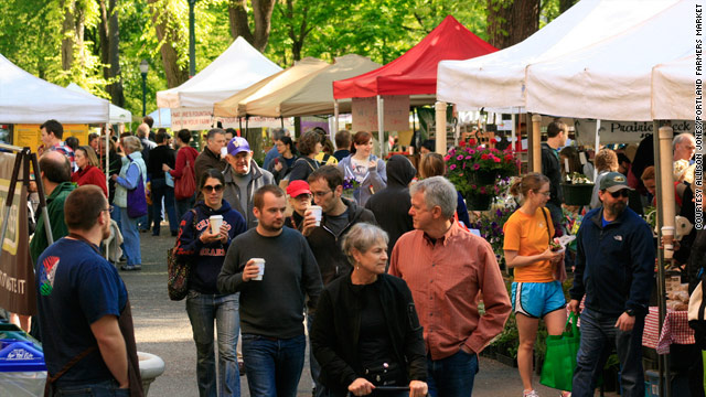 Shoppers explore the Portland Farmers Market in Portland, Oregon.