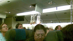 A passenger on the United flight that hit severe turbulence Tuesday took this photo of the cabin after the incident.